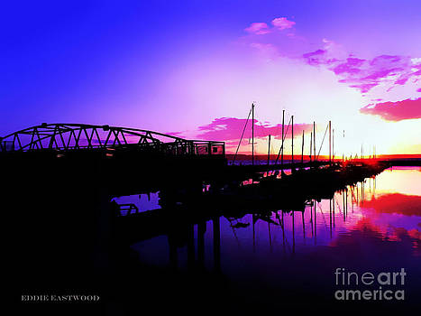 Sunset in Edmonds Washington Boat Marina  by Eddie Eastwood
