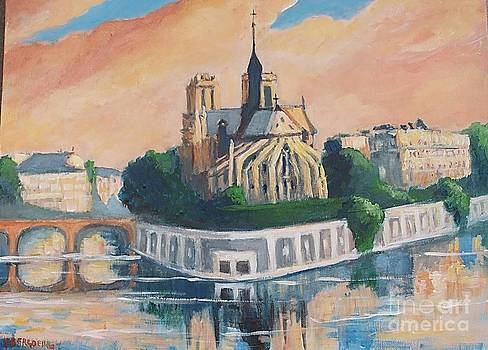 Sunset in Notre Dame of Paris by Jean Pierre Bergoeing