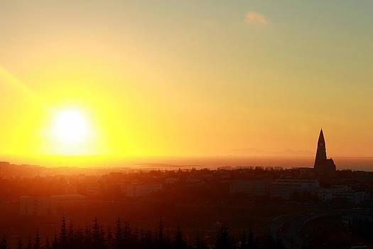 Sunset in Reykjavik  by Halldor  Sigurdsson