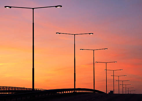 Sunset Lampposts by Viacheslav Savitskiy