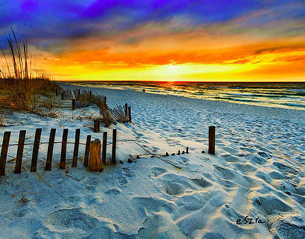 Sunset Landscape-Red Beach Sunset by Eszra Tanner