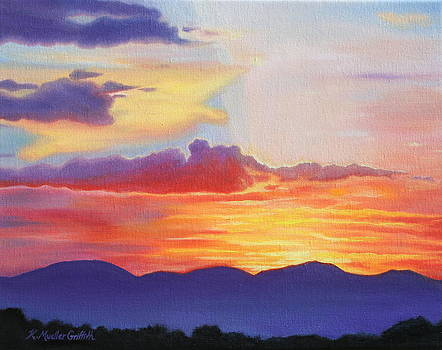 Sunset Mountain Silhouette by Kristine Mueller Griffith