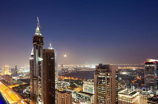 Fototrav Print - Sunset on Dubai Skyline cityscape