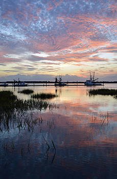Sunset on Jekyll Island with Docked Boats by Bruce Gourley
