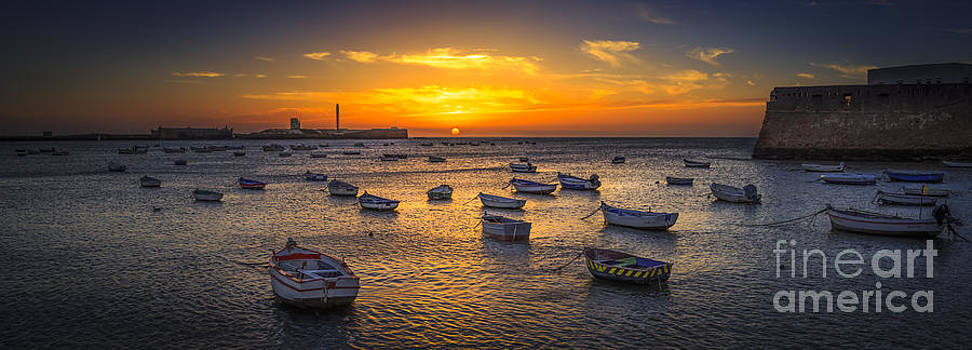 Sunset on La Caleta Beach Cadiz Spain by Pablo Avanzini