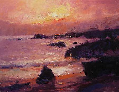 Sunset on Pismo Beach by R W Goetting