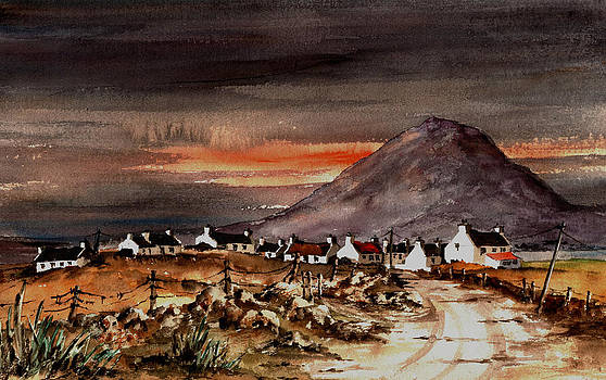 Val Byrne - Sunset on Slievemore Achill Mayo