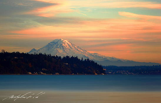 Sunset on Tahoma Horizon by Michael Canfield