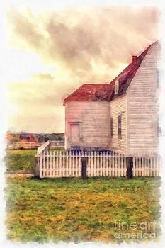 Edward Fielding - Sunset on the old farm house