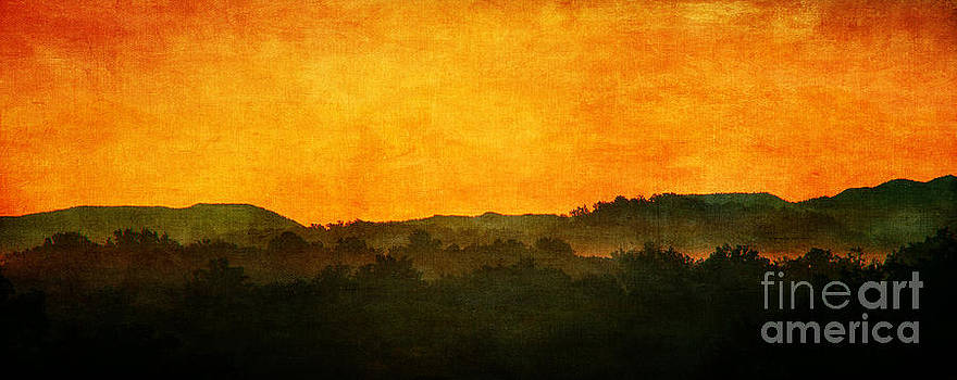 Sunset on the Smokies-textured by Cindy Tiefenbrunn