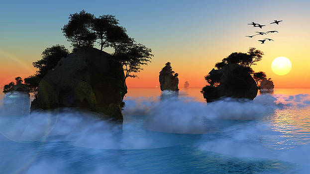 Sunset or sunrise with rocky islands by Bruce Rolff