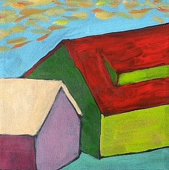 Sunset Over a Very Green Barn by Molly Fisk
