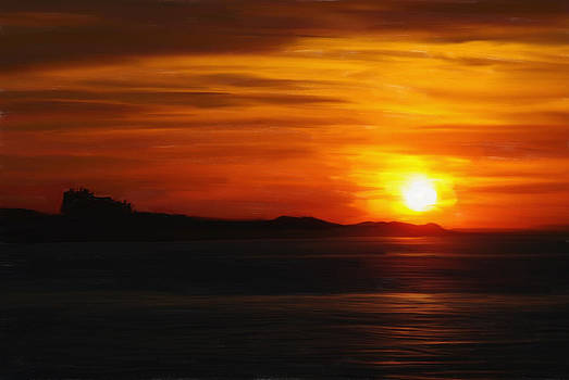 Sunset Over Bamburgh Castle by Tanya Hall