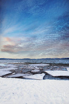 Sunset Over Frozen Lake by Susan Gary