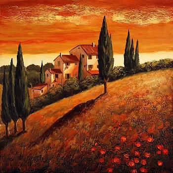 Sunset over Tuscany 1 by Santo De Vita