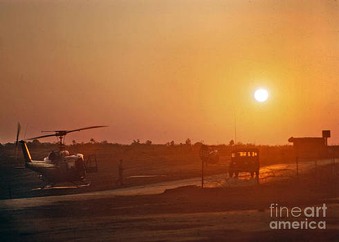 California Views Mr Pat Hathaway Archives - Sunset over UH-1 Huey Helicopter Camp Enari Vietnam 1968