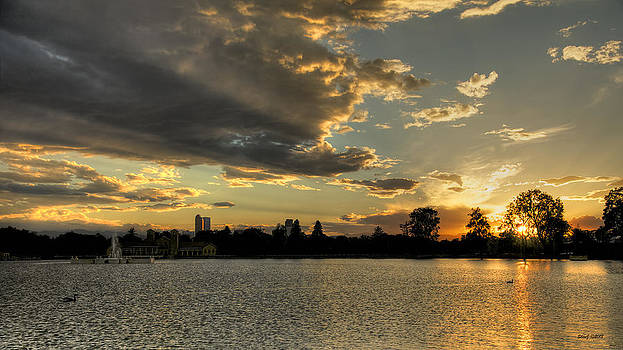 Sunset Pano Denver Skyline by Stephen  Johnson