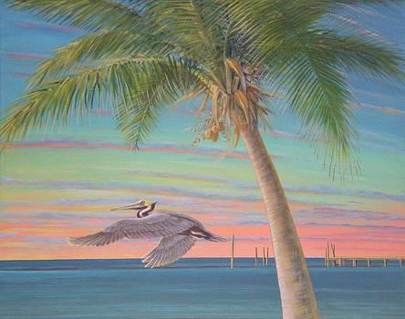 Sunset Pelican by Bonnie Golden