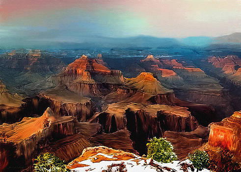 Sunset Powell Memorial Grand Canyon South Rim by Bob and Nadine Johnston