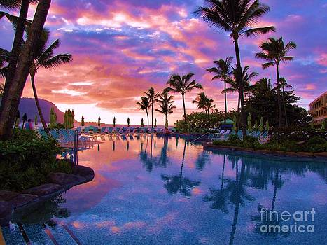 Sunset Reflection St Regis Pool by Michele Penner
