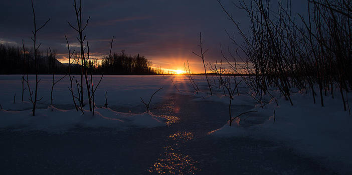 Sunset Reflections on Ice by Emily Henriques