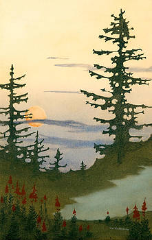 Sunset Spruces by Bruce Richardson