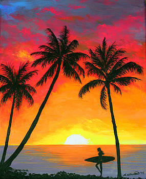 Tropical Sunset Surfer by Amy Scholten