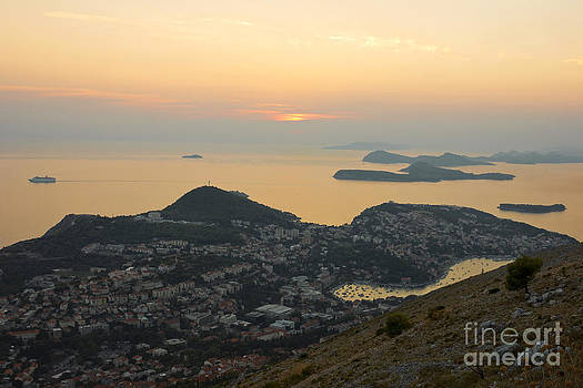 Sunset view of Dubrovnik and Dalmatian Coast by Kiril Stanchev