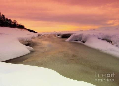 Sunset Within Winter Beauty Of Lake Michigan by Jack  Martin