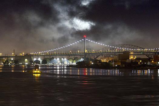 Super Moon and Triboro Bridge by Dave Beckerman