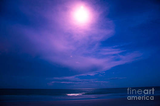 Super moon over the Gulf by Shawn  Bowen