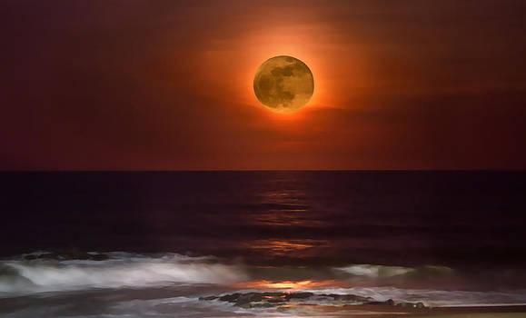 Super Moon Over the Ocean by Alina Marin-Bliach