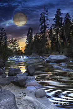 Super Moon Rising Over Silky Stream by Susan Gary