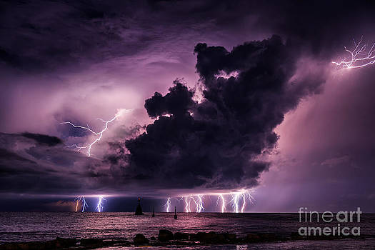 Supercell lightning over the sea by Marko Korosec