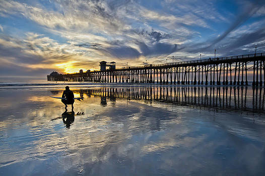 Surfer at Low Tide by Julianne Bradford