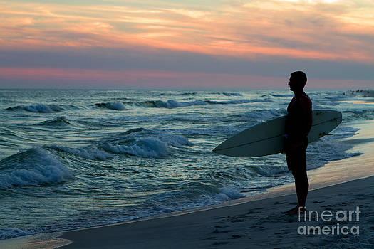 Surfer At Sunset by Steven Frame