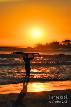 Dan Friend - Surfer at sunset Ventura Beach