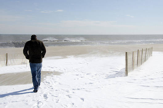 Surfer Checking out Winter Swell in Belmar NJ by Maureen E Ritter