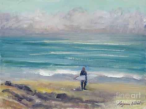 Surfer in Santa Cruz by Suzanne Elliott