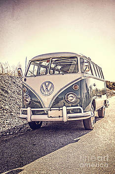 Surfer's Vintage VW Samba Bus at the beach by Edward Fielding