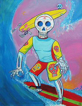 Surfing Sugarskull by Mando Padilla