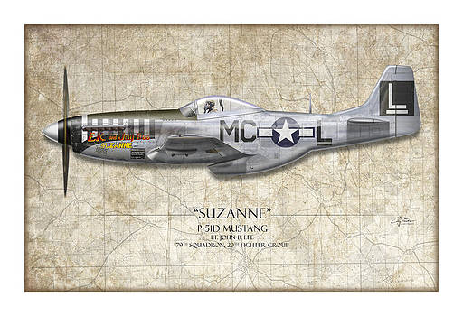Suzanne P-51D Mustang - Map Background by Craig Tinder
