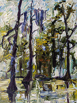Ginette Callaway - Swamp Morning Cypress Trees Oil Painting