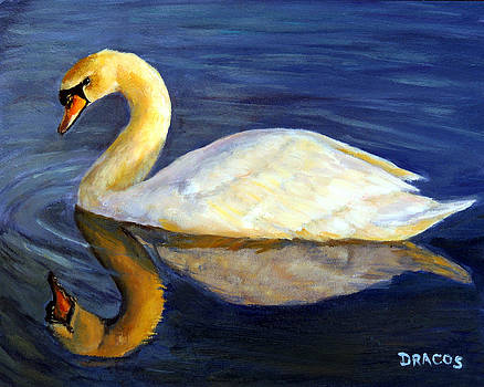 Swan Swimming at Sunset by Dottie Dracos