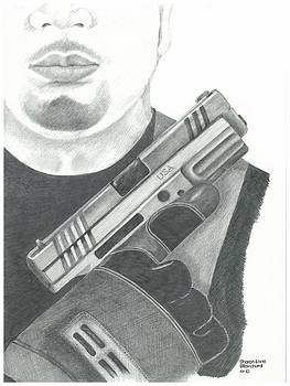 S.W.A.T. Team Leader holding a Springfield Armory XD 40 cal weapon by Sharon Blanchard