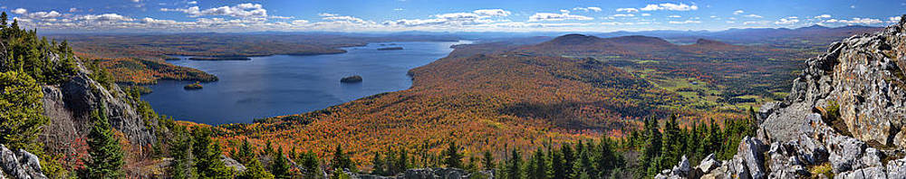Sweeping fall panorama over Lake Memphremagog by Sebastien Coursol
