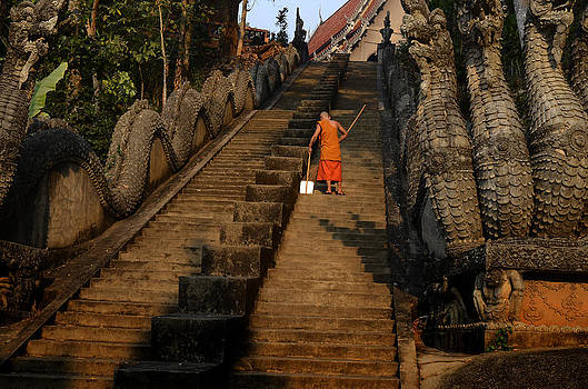 Sweeping the Temple Steps by Duane Bigsby