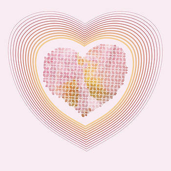 Sweet Hearts In The Yellow And Pink Colours Pastel by Larisa Karpova