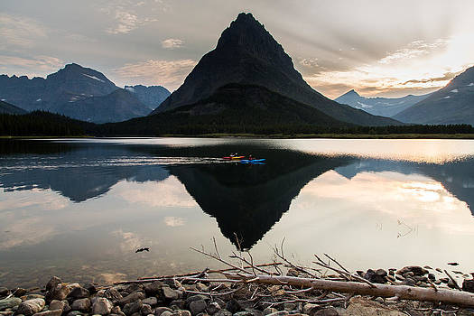 John Daly - Swiftcurrent Lake and Kayakers