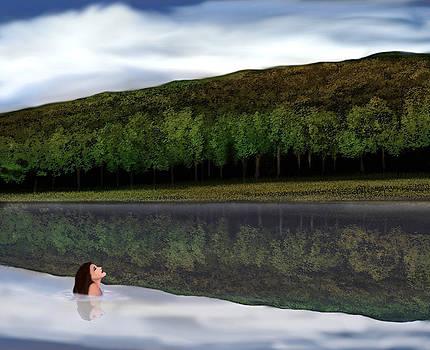 Swimmer in Berkshire Lake  by John Townes